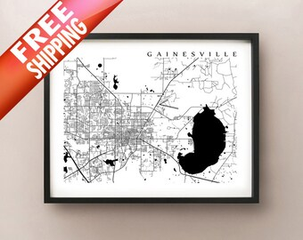 Gainesville, FL Map - Black and White