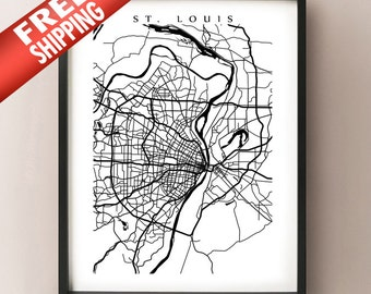 St. Louis Map Print - Black and White - Missouri Poster Art