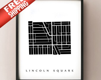 Lincoln Square Map - Chicago Neighbourhood Art Print