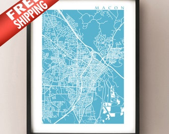 Macon Map Print - Georgia Poster - Macon GA Home Decor - Choose your size and color