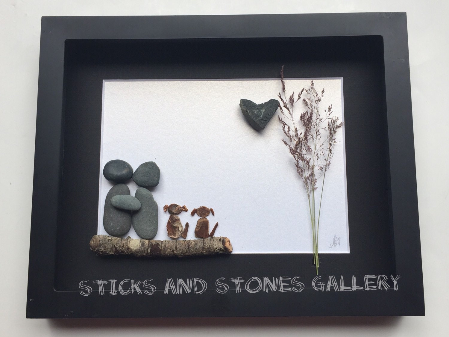 Pebble art couple 39 s gift unique couple and dogs gift for Unusual dog gifts
