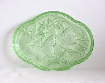 Green Glass Tray, Glass Butterfly Tray