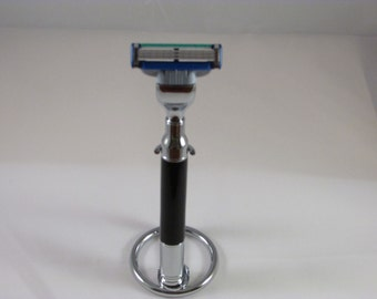 Handmade Shaving Set: Magnum Mach3   Razor and Chrome  stand in a (Jet Black Aquapearl (TM)Acrylic Blank-- Chrome Finish)