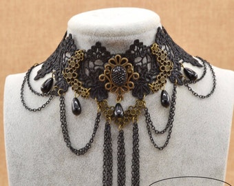 Steampunk Victorian Necklace Choker.