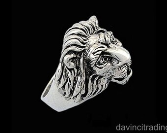 Lion Head Ring in Sterling SIlver