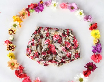 Baby bloomers, floral baby bloomers, Baby girl bloomers boho bloomers, vintage inspired floral bloomers