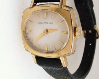 Vintage Ladies 1967 Caravelle by Bulova 17 Jewels Wind Up Watch With Leather Band