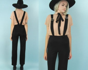 90s High Waisted Stretch Pants with Suspenders