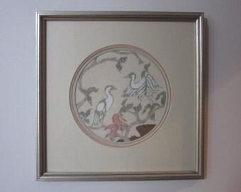 Vintage Framed Needlepoint, Petit Point, Handmade Wall Hanging Art,Needlepointed Fiber Art,Asian Motif,Herons,Floral,Birds,Pastel Peach,Gift