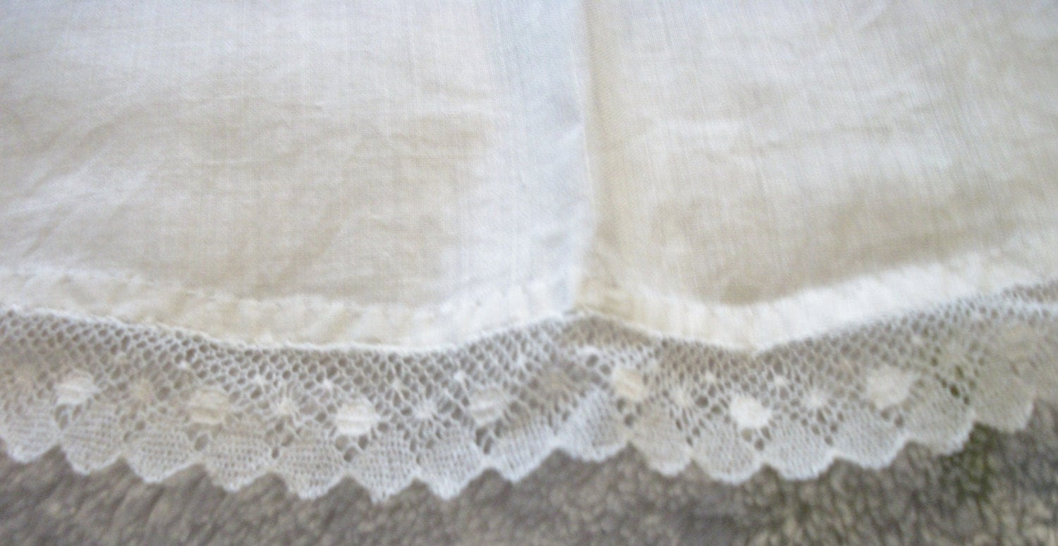 White apron lace trim - Delicate Handmade Childs White Cotton Apron With Pocket Lace Trim Possibly Small Womens