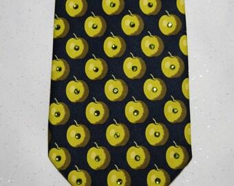 Green apple rhinestone necktie
