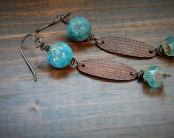 Copper Bleu earrings - Dangle, Bohemian, Natural, Artisan, Turquoise, Copper