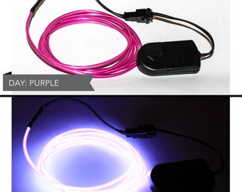 4 Foot LED El Wire Kit with 2032 Lithium Battery Pack - Dark Purple (Batteries Not Included) - EDM, EDC, Burning Man
