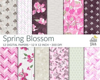 "Spring blossom digital paper - floral papers -12x12"" - 300 dpi - scrapbooking - instant download - commercial use - royalty free"