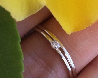 Combination Set 14kt gold diamond ring with fashionable stacking band