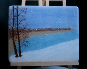 Winter by the Sea - Hand painted Kiln Fused art glass 3D painting. Glass art / panel. One of a kind painted glass panel. Seascape Landscape.