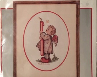 Counted Cross Stitch Needle Treasures Candle Light Angel Drawing by Hummel
