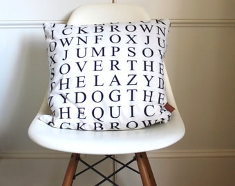 Cushion - Original Quick Brown Fox Print - 45cm - 18inch - cotton with handcrafted leather tag - alphabet cushion