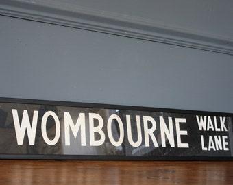 """Vintage Antique 1940's Framed Bus Destination Blind Sign """"Wombourne Walk Lane"""""""