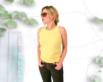 Bright Yellow 90's Cotton Tank Top