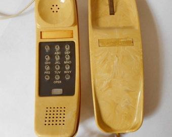 Vintage 1979 Butterscotch Stromberg-Carlson Slenderet Pushbutton Telephone- Working Yellow Swirl
