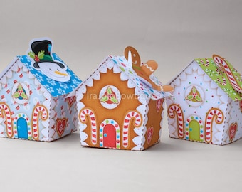 Christmas Gingerbread House, Snowman, Candy cane Favor Box Set for Christmas Party