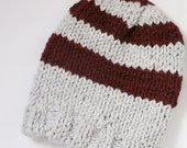 Lined Striped Knit Beanie Gray and Burgundy