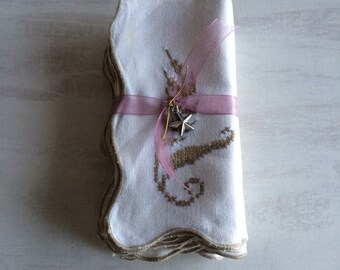8 Vintage Scalloped Edge, Beige Cross Stitch Dinner Napkins