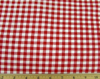 Red White Gingham Checked Fabric 100% Cotton
