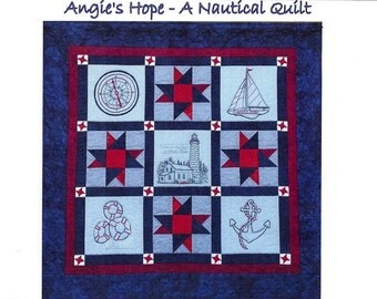 Angie's Hope A Nautical Quilt Pattern - 5 Hand Embroidery Blocks, Label & Quilt Finishing Pattern - by Beth Ritter - Instant Download