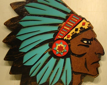 Southwestern Sign Indian Head, Indian Headdress, Chief, Southwestern Rustic Sign, Vintage Look Sign, Southwest Decor, American Indian