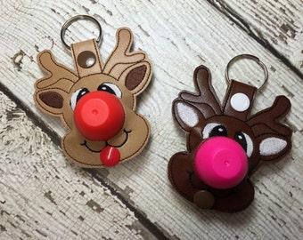 4 x 4 ITH Reindeer Sphere/Egg Lip Balm Holder - Snap Tab - Key Fob - DIGITAL Embroidery Design