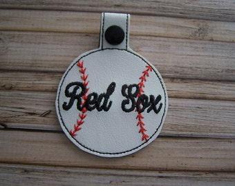 Red Sox - Baseball - In The Hoop - Snap/Rivet Key Fob - DIGITAL Embroidery Design