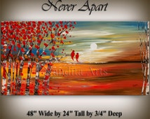 "Original LANDSCAPE PAINTING, Scenic Birch Tree Art Paintings Surreal Large Landscape art 48"" Landscape painting fine art art Nandita"