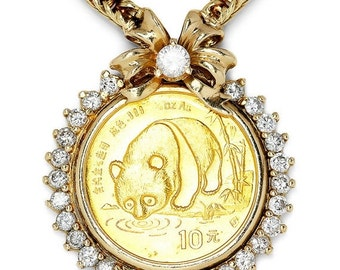 ON SALE 1987 Chinese Gold Coin Panda 10y Diamond Pendant Necklace Yellow Gold 1.50ctw