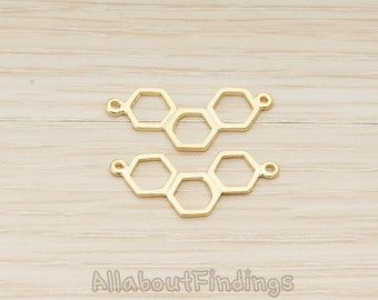 PDT1541-MG // Matte Gold Plated Triple Hexagon Link Double Loop Pendant, 2 Pc