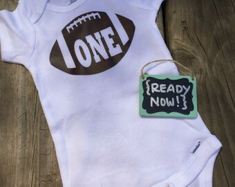 12 Month onesie -> { READY to ship NOW } - 1st Birthday Football