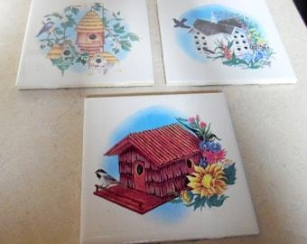 Set of 3- birdhouse themed, garden style tiles, trivets, coasters