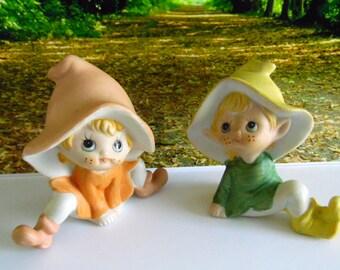 Pair of vintage Homco elves, gnomes, elf figures.