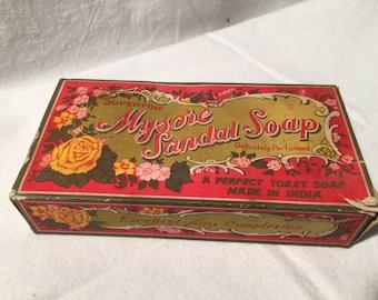 Vintage Mysore Sandal Soap Unused New in Box 3 Bars.Smells Great
