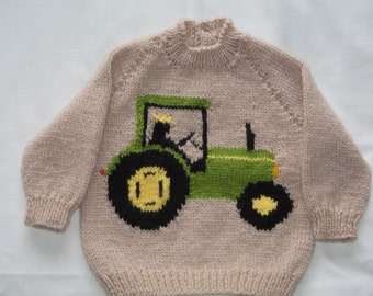 """Hand Knitted Tractor Jumper  Chest 20""""/51cm"""