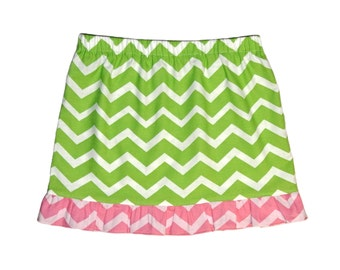 Girls chevron ruffle cotton summer skirt, green & pink. Size 6 handmade