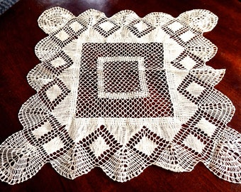 "Vintage Crocheted Doily,Crochet Centerpiece,Ecru Doily,16"" Square Table Topper,Vintage Wedding Linen,Vintage Doily,Beige Crocheted Linens"
