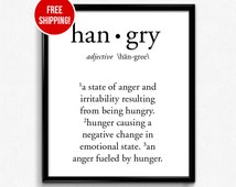 Hangry Art Print, Funny, printable, wall art, inspirational quote, wall decor, minimalist poster, office decor, home decor, wall art quotes
