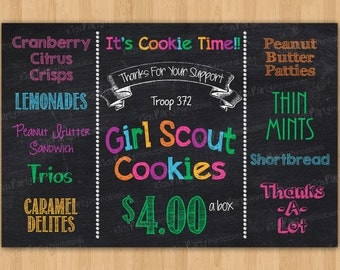 Girl Scout Cookies Sign, Girl Scout PRINTABLE, 2016 Girl Scout Cookie Booth Sign, Girl Scout Cookie Printable Chalkboard Poster Banner Sales