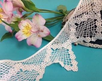 "1 yard 3.5"" Venice lace trims triangular border lace/cotton off white lace"