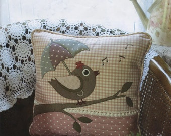 No.88 PDF Pattern Ebook Bird Pillow Cushion Case sewing applique handmade