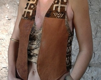 Jacket woman vintage tribal patchwork leather rust and bogolan organic cotton