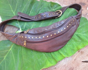 urban studded brown leather and black leather Fanny Pack