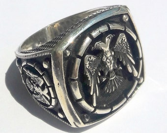 925 Sterling Silver Men's Ring With Unique Handmade Double Headed Eagle